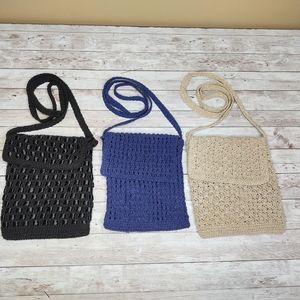 Knit Shoulder Bag Trio - Taupe, Navy and Black